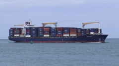 Stock Video Footage of Container vessel Rio Taku inbound seaport ROTTERDAM