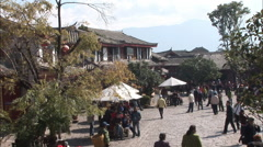 People in Lijiang Market Square, China Stock Footage