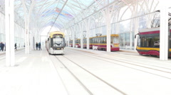 New building of modern tram station Piotrkowska - Center Stock Footage