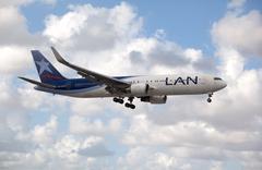 Boeing 767 LAN Airlines landing at Miami International Airport. - stock photo