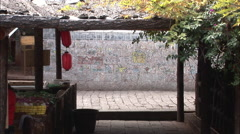 Cobbled alley in Lijiang, China Stock Footage