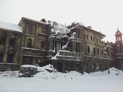 old destroyed building in the winter - stock photo