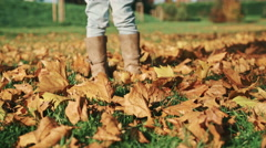 Little Girl Playing with Autumn Leaves - stock footage