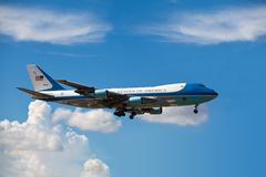 Air Force One lands in Miami - stock photo