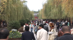 People walking, Old Town Lijiang, China Stock Footage