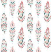 Seamless Pattern with Ethnic Feathers Stock Illustration