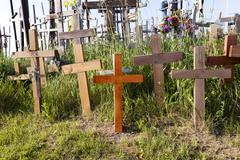 wooden crosses  close-up - stock photo
