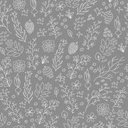 Stock Illustration of Hand drawn flowers and plants seamless pattern