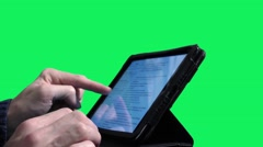 Verify email on tablet on a green screen background Stock Footage