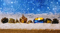 Christmas decoration isolated on blue background. - stock footage