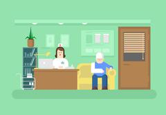 Reception of doctor in clinic - stock illustration