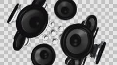 Thumping Speakers on Transparent BG Stock Footage