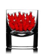 Back lit glass with little red bottles inside Stock Photos