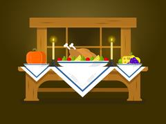Holiday table for Thanksgiving Stock Illustration