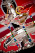 Stock Photo of Martini drinks served on a silver platter