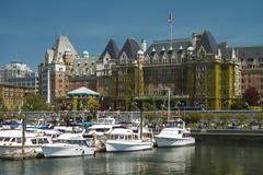 Stock Photo of The Fairmont Empress Hotel facade in Victoria, British Columbia, Canada.