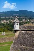 Watch tower in ancient town of Valenca, Portugal Stock Photos