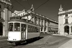 Classic electric tram in Portugal Stock Photos