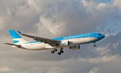 Aerolineas Argentinas Airbus-330 landing at Miami International airport. Stock Photos