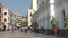 People in Largo do Senado Square, Macau Stock Footage