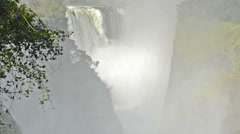 Stock Video Footage of Slow zoom out on Victoria Falls Devils Cataract in southern Africa