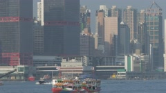 Hong Kong cityscape with boats. Speed-lapse. Stock Footage
