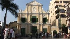 Church of Saint Dominic, people, Macau Stock Footage