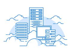 Cloud service database - stock illustration