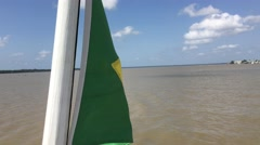 Brazil Waving Flag on Amazon River in Belem do Para, Brazil Stock Footage