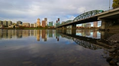 Time Lapse of Clouds with Water Reflection Over Portland OR one Autumn Day 4k - stock footage