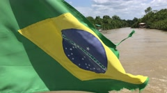 Brazil Waving Flag on Amazon River in Belem do Para, Brazil - stock footage