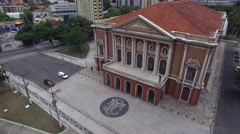 Aerial View of Theatro da Paz in Belem do Para, Brazil Stock Footage