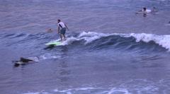 Palm trees and surfer on Hawaiian Islands Hawaii Stock Footage