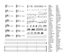 Large set of all music signs, keys, tonality and note staves isolated on white Stock Illustration