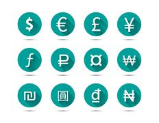 Isolated set of main currency signs flat icons with long shadow on green - stock illustration