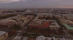 Aerial Shoot Saint Petersburg fly over roofs. Russia. Stock Footage