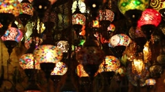 Traditional Asian lanterns of colored glass on the market Stock Footage