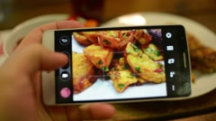 Make Photo Of Food In A Restaurant With Mobile Phone Camera For Social Network Stock Footage