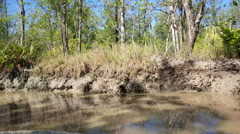 Cruising through a small mud river in Suriname Stock Footage