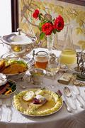 Traditional Czech cuisine and antique tableware. Stock Photos