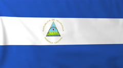 Flag of Nicaragua waving in the wind, seemless loop animation - stock footage
