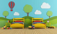 Children's bedroom with two single beds - stock illustration