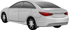 White Sedan Car. Vector Stock Illustration