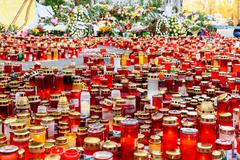 People Bring Tribute In Memory Of The Colectiv Club Fire - stock photo