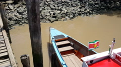 Longtail boat at the Suriname River Stock Footage