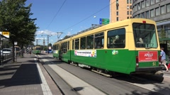 Electric trams (in 4k & audio) in Helsinki, Finland. Stock Footage