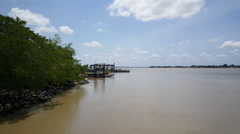 Suriname River in Nieuw Amsterdam Suriname Stock Footage