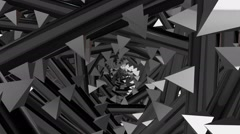 Rotating tunnel with spikes in silver metallic color Stock Footage
