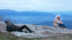 A couple in mountain having problems and crisis. Divorce and separation Stock Footage