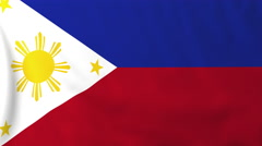 Flag of Philippines waving in the wind, seemless loop animation Stock Footage